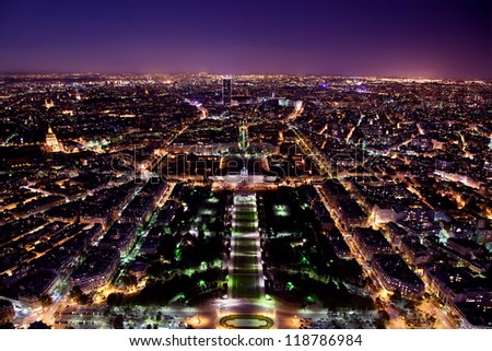 Paris panorama, France at night. View on Field of Mars and Montparnasse Tower from Eiffel Tower. - stock photo