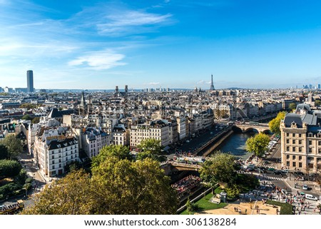 Paris Panorama. View from Cathedral Notre Dame de Paris. France. - stock photo