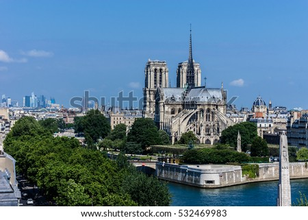 Paris Panorama with Cite Island and Cathedral Notre Dame de Paris on the background. France.