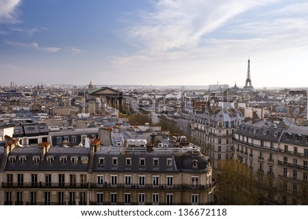 Paris panorama with Eiffel tower, France, Europe - stock photo