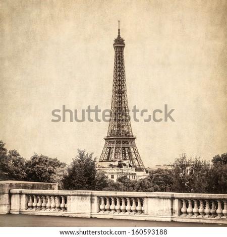 Paris panorama with scenic sky, France - stock photo
