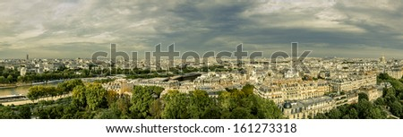 Paris panorama with scenic sky, France - stock photo