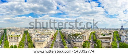 Paris, panoramic aerial view of Champs Elysees boulevard and other building landmarks. - stock photo