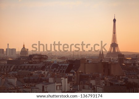 Paris panoramic view at sunset, Eiffel tower - stock photo