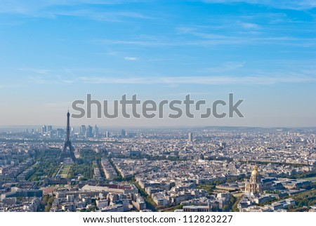 Paris, panoramic view on Eiffel Tower from Montparnasse Tower