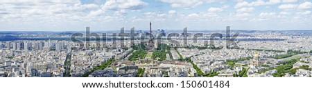 Paris panoramic view with Eiffel tower - stock photo