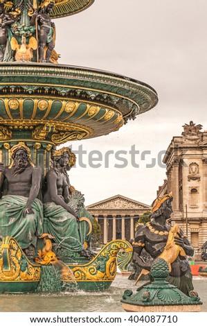 Paris Place de la Concorde Fountain of Rivers - stock photo
