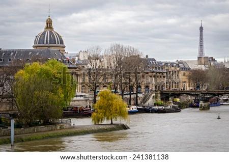 Paris, Pont des Arts and river Seine - stock photo