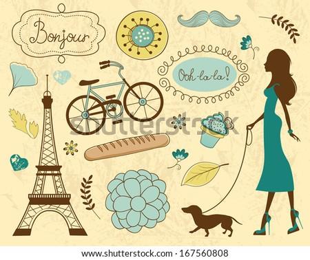 Paris related items illustration  - stock photo
