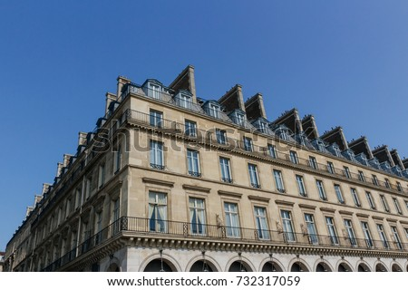 paris residential buildings old paris architecture stock photo