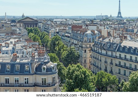 Paris roofs panoramic overview at summer day, France, traditional postcard picture.