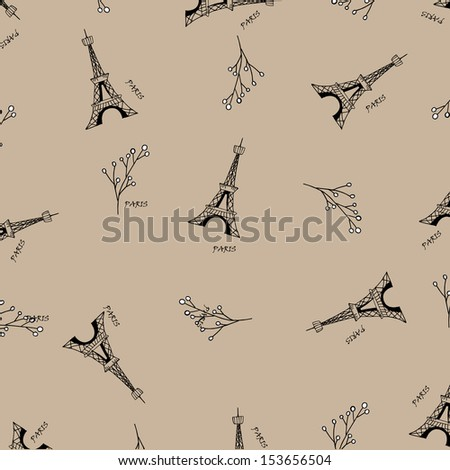 Paris seamless pattern with Eiffel tower. - stock photo