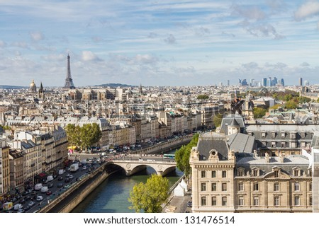 Paris seen from the top of Notre Dame - stock photo