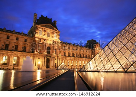 PARIS - SEP 24 : Night view of the Louvre, glass pyramid present, world's largest museums, most visited museum, more than 8 million visitors per year, opened from 1793 on Sep 24, 2010, Paris, France.