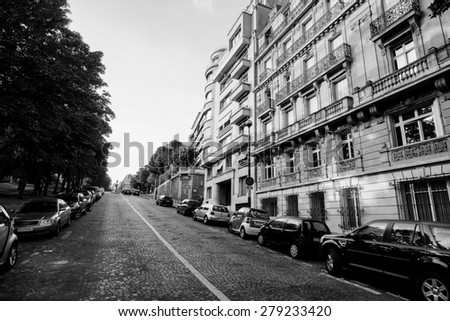 PARIS - SEP 08: streets of Paris on September 08, 2014 in Paris, France. Paris, aka City of Love, is a popular travel destination and a major city in Europe - stock photo