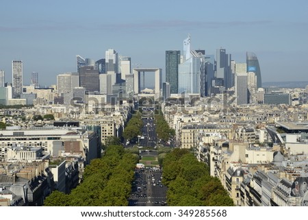 PARIS - SEPTEMBER 20, 2015: A view over La Defense area. La Defense is Europe's largest business district with 180 000 daily workers and the headquarters of 15 of the top 50 companies in the world.