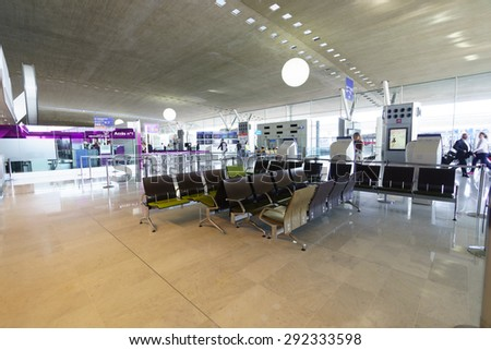 PARIS - SEPTEMBER 10, 2014: Airport interior. Paris Charles de Gaulle Airport, also known as Roissy Airport, is one of the world's principal aviation centres
