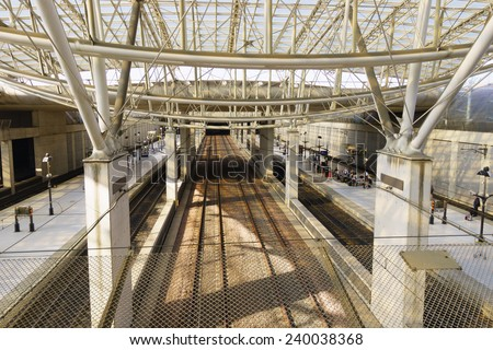 PARIS - SEPTEMBER 10: Charles de Gaulle Airport on September 10, 2014 in Paris, France. Paris Charles de Gaulle Airport, also known as Roissy Airport, is one of the world's principal aviation centres - stock photo