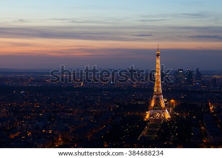 PARIS - SEPTEMBER 30, 2012: Eiffel tower at night . Night in Paris with Eiffel tower, most visited monument of France with 200.000.000 visit