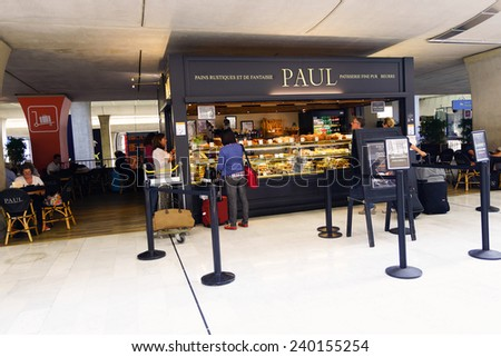 PARIS - SEPTEMBER 10: PAUL cafe interior on September 10, 2014 in Paris, France. Paris Charles de Gaulle Airport, is one of the world's principal aviation centres. - stock photo