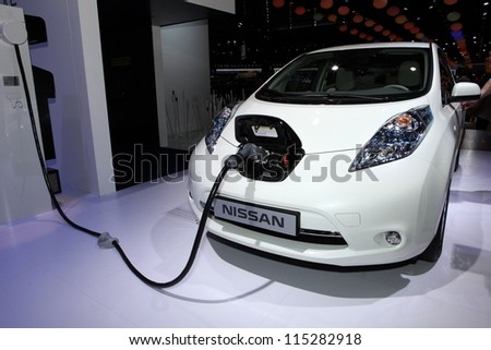 PARIS - SEPTEMBER 30: The new Nissan Leaf displayed at the 2012 Paris Motor Show on September 30, 2012 in Paris - stock photo