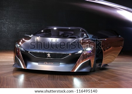 PARIS - SEPTEMBER 30: The Peugeot Onyx Concept displayed at the 2012 Paris Motor Show on September 30, 2012 in Paris