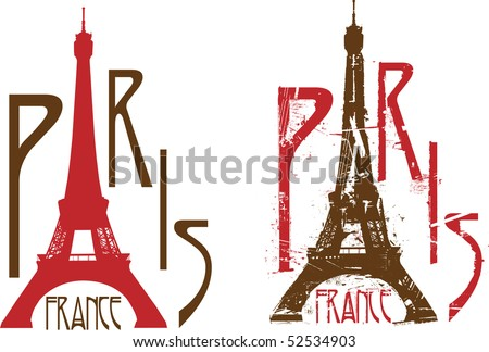 Paris sign with Eiffel tower as letter A. Grunge and clean versions - stock photo