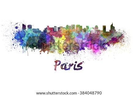 Paris  skyline in watercolor splatters with clipping path