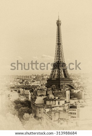 Paris skyline: Tour Eiffel (Eiffel Tower) in retro style; high noise added