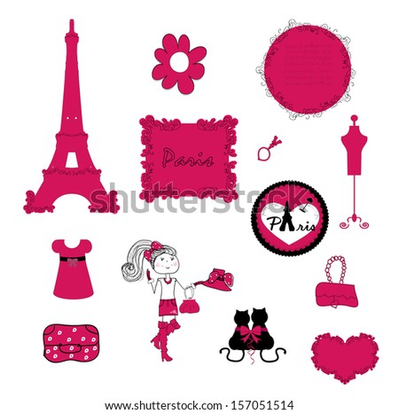 paris. small details in pink. - stock photo