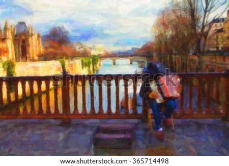 Paris. Street musician on the bridge over the Seine. Watercolor drawing stylization.