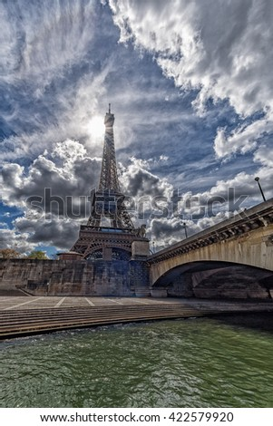 Paris sunny blue sky aerial view landscape from river seine