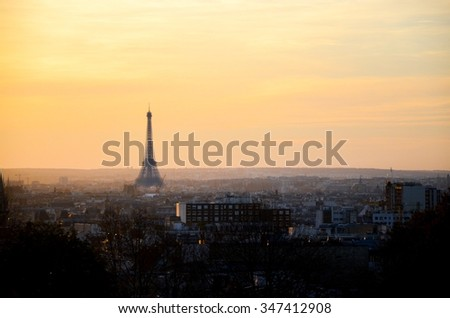 Paris sunset with colored sky