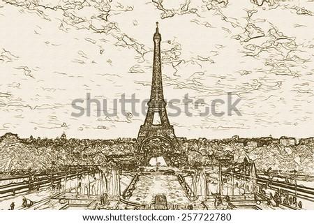 Paris - the Eiffel Tower - stock photo