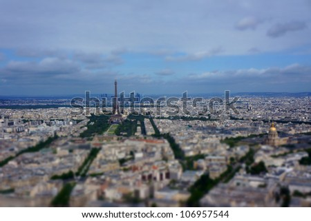 paris tilt shift effect - stock photo