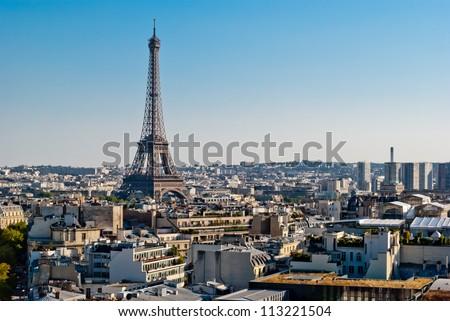 Paris, Tour Eiffel view from Triumphal Arch - stock photo