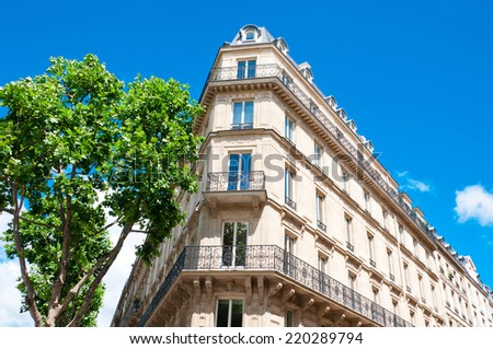 Paris, typical building architecture - stock photo