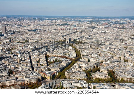 Paris view from the Eiffel tower - stock photo
