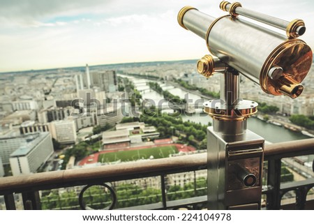 Paris view from the top of  Eiffel Tower - stock photo