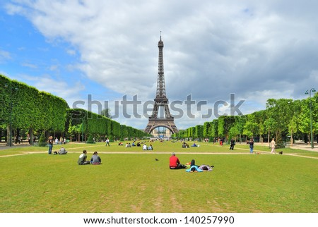 Paris. View of Champ de Mars and the Eiffel Tower in a sunny summer day