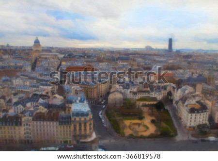 Paris view. Painting stylization
