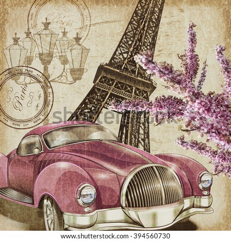 Paris vintage poster. - stock photo