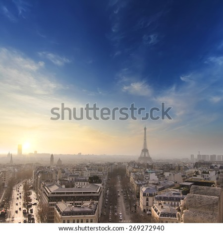 Paris with Eiffel tower in sunset time. Colorful background