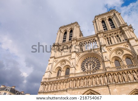 Paris. Wonderful view of Notre Dame Cathedral on a summer afternoon.