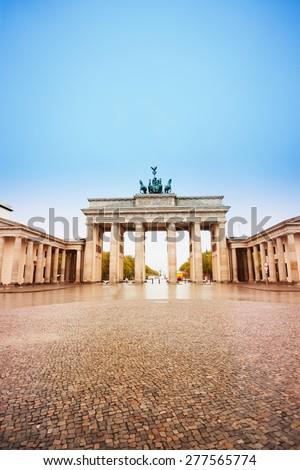Pariser Platz and Brandenburger Tor view in Berlin, Germany - stock photo