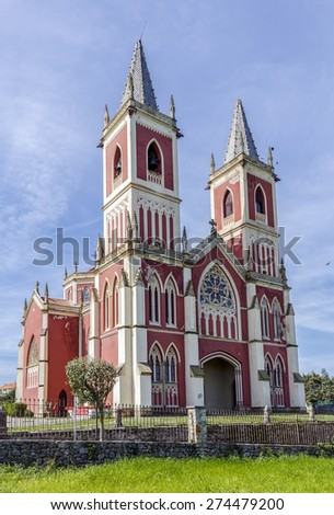Parish Church of St. Peter ad links Medieval church in Cobreces, Cantabria, Spain - stock photo