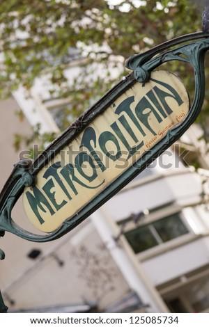 Parisian metropolitain - Underground sign - stock photo