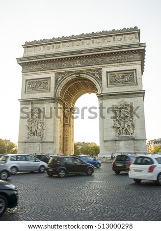 Parisian traffic and the Arch of Triumph, Paris, France