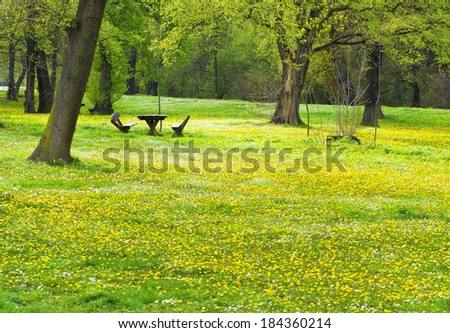Park Ada Ciganlija in spring, Belgrade, Serbia - stock photo