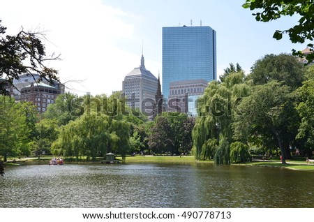 park and buildings in Boston
